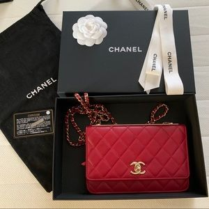 Chanel Red Quilted Lambskin Trendy CC WOC
